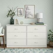 Classic Six Drawer Dresser White Finish Made From Laminated Particleboard