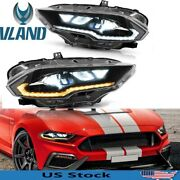 Led Headlights For Ford Mustang 2018-2021 Projector Assembly Dual Beam Drl Lamps
