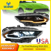 Vland Led Headlights For Ford Mustang 2018-2021 Projector Assembly Drl Lamps Set