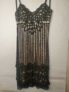Sue Wong Black Nude Crochet Knit Overlay Lace Trim Dress Size 8 Cocktail