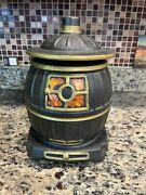 Vintage Mccoy Usa Pottery Mcm Black Pot Belly Stove Cookie Jar W/ Lid 10andrdquoh 7andrdquow