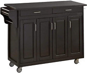 Create-a-cart Black 4 Door Cabinet Kitchen Cart With Granite Top By Home Styles