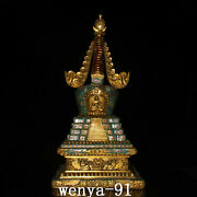 20 Old China Antique Pure Copper Cloisonne Filigree Fangfo Pagoda