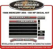 1988 Mercury 150 Hp Xr4 Outboard Reproduction Decal Set