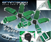 For Bmw 3 Track Race Drift Green 5 Point Seat Belts Camlock Secure Safety Locks