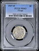 1937-d Buffalo Nickel 3 Legs Pcgs Ms63 5c