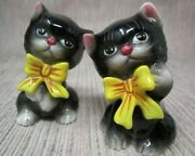 Vintage Black Kittens/cat With Bow Salt And Pepper Shakers Japan