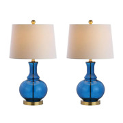 Table Lamp 25 In. Brass Base Drum Shade Silk-wrapped Cord Rotary Switch 2-set