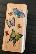 Vintage Six Butterflies Flying Wood Mounted Rubber Stamp Stampcraft 440d31