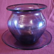 Nice Chalcedony Glass Vase With Tray From Barovier And Toso Italy Murano