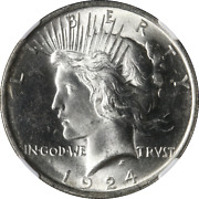 1924-p Peace Dollar Ngc Ms64 Bright White Nice Eye Appeal Nice Strike Stock