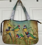 Nwt Anuschka East West Hand Painted Zip Top Tote Bag Frolicking Finches Dust Bag