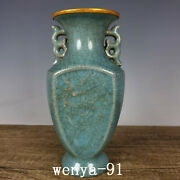 Collection China Antique Song Dynasty Ru Kiln Dragon And Phoenix Pattern Bottle