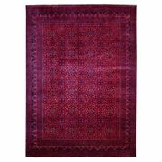8'2x11'1 Saturated Red With Navy Afghan Khamyab Wool Hand Knotted Rug R67787