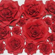 Artificial Paper Rose Flowers Backdrop Home Decoration Craft Floral Wall Art