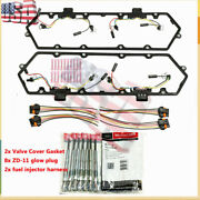 Fit 94-97 Ford 7.3l Powerstroke Diesel Valve Cover Gaskets Harness And 8 Glow Plug