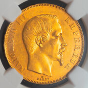 1857, France 2nd Empire, Napoleon Iii. Large Gold 50 Francs Coin. Ngc Au-58