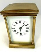 Antique French Brass Wind-up Carriage Clock Tested Runs Great France