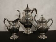 Fisher Sterling Silver Tea Set Hand Chased Victoria Pattern