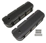 Mr Gasket Finned Fabricated Aluminum Valve Cover Black Finish For Chevy 396-454