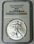 Ngc Ms69 2013w American Silver Eagle Dollar Struck At West Point 3786329-014