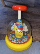 Vintage Antique Tomy Push N Merry Go Round Zoo Carousel Toy Full Working Rare