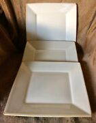 3 - Pottery Barn Asian Square Putty Japan Square 10 1/2 Inch Dinner Plates