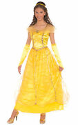 Golden Princess Belle Beauty And The Beast Fairytale Deluxe Women Costume