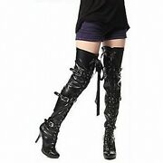 13cm Thin Heels Shoes Baking Paint Riband Buckle Strap Long Boots Black Sexy New