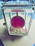 Victorian Glass And Gilt Pocket Watch Holder/stand Painted Eifel Tower 1889