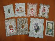 8 Antique Valentine Card 1800 Folding Embossed Lace Paper Victorian Intricate
