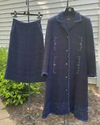 Couture Blue Wool Boucle Beaded Sequin Trim Jacket Skirt Suit 40 Us 6