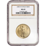 2006-w American Gold Eagle Burnished 1/2 Oz 25 - Ngc Ms69