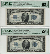 1934 10 Silver Certificate Changeover Pair Fr.1701 Non Mule/mule Pmg 65/66 Epq