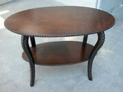 Antique Victorian Lamp Parlor Table With Rococo Legs Beaded Edges Rare Original