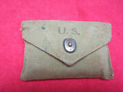 Us Wwii Original First Aid Pouch Dated 1943 W/ Carlisle Model Battle Dressing