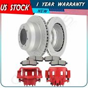 Rear Brake Rotors Calipers With Ceramic Pad For 1999 Ford F-350 Super Duty 2+2+4