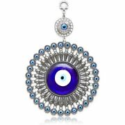 Evil Eye Wall Hanging Turkish Amulet Decoration Blue Glass 5 Inches