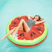 Adult Kids Watermelon Swimming Bed Slice Inflatable Pool Floats Summer Water Toy
