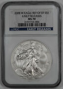 2008 W American Silver Eagle S1 Rev Of 2007 Ngc Ms 70 Unc - Early Releases 006