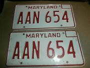 2 Vintage 1976  License Plates Plate Md Maryland Red White Aan654