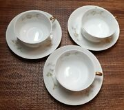 Pl Limoges Tea/coffee Cup And Saucer Pink Flowers Set Of 3