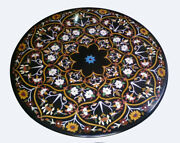 36 Black Marble Dining Table Top Inlay Multi Floral Handmade Home Decor B828a