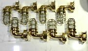 Nautical Solid Brass Outdoor Exterior Wall Light Fixture With Junction Box 8 Pcs
