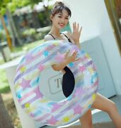 Adults Kids Floats Swimming Ring Handle Sequins Circle Rubber Party Pool Toys