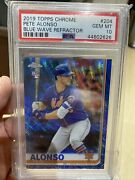 2019 Topps Chrome Blue Wave Refractor Pete Alonso Rc 204 Psa Gem 10 And039d 66/75