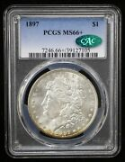 1897 Morgan Silver Dollar Pcgs Ms66+ Cac Certified - 07997