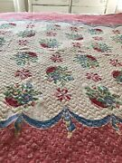 Vintage Quilt Bedspread Printed Cottage Chic Pink Red Floral Cotton Shabby