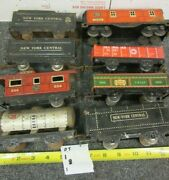 O Scale Lionel Marx Etc Lot Of 8 Tin Train Cars Tinder Tanker Caboose Flat Cars