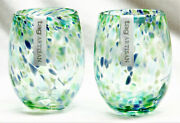 Confetti Stemless Wine Glass Multi Green And Blue - Set Of 2 - Tag Free Shipping